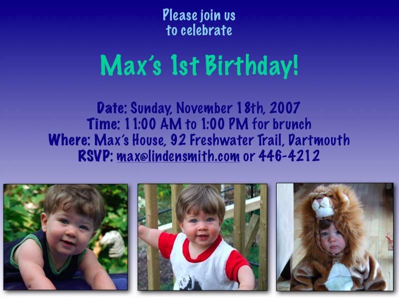 Max's 1st Birthday Invitation